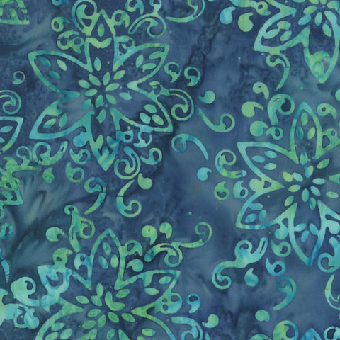 Anthology Bali Batiks 322Q 1 Blue Giggles Floral By The Yard