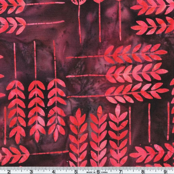 Anthology Bali Batiks 325Q 1 Raspberry Allure Leaf By The Yard