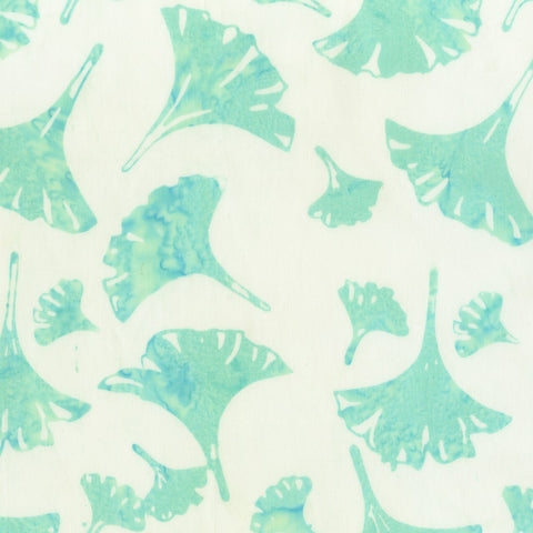 Anthology Bali Batiks 327Q 2 Mint Gingko Leaves By The Yard