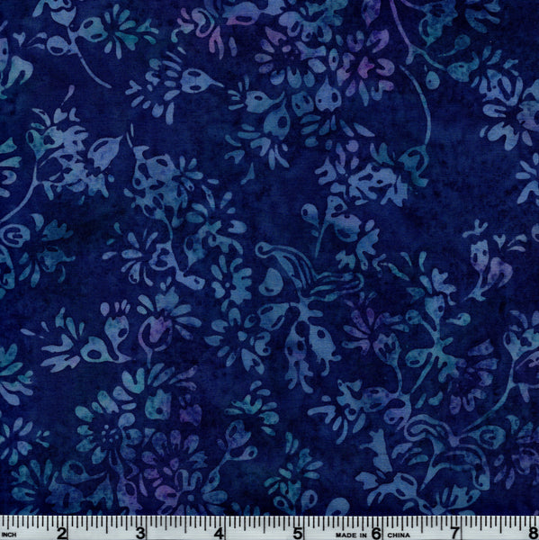 Hoffman Bali Batik 3321 14 Floral Motif On Blue By The Yard