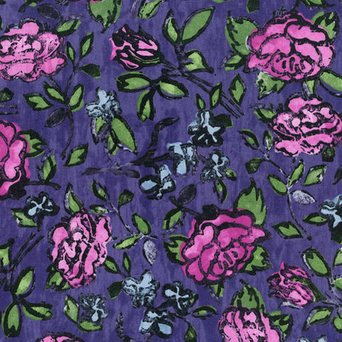RJR Fabrics Florabunda! 3342 3 Blowsy Rose Dusty Plum By The Yard
