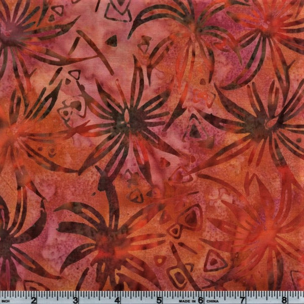 Anthology Batik 3342 Orange Mottled Palms By The Yard
