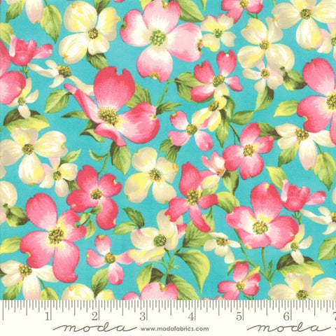 Moda Sakura Park 33480 16 Turquoise Cherry Blossom By The Yard