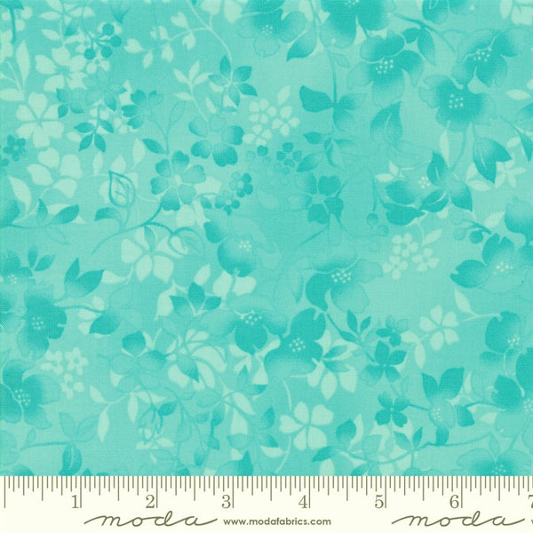 Moda Sakura Park 33484 24 Turquoise Watercolor Blossoms By The Yard