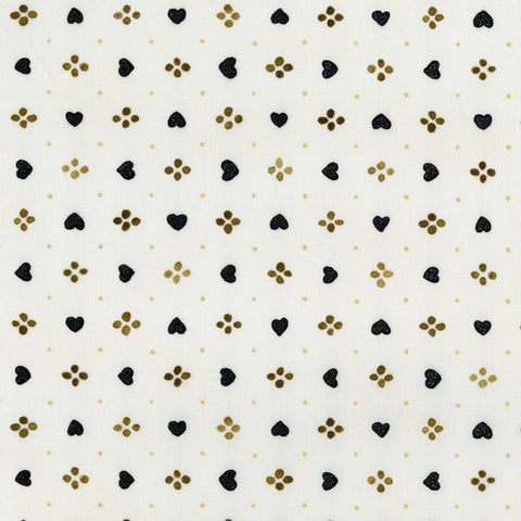 RJR Fabrics Metallic Shiny Objects 3376 5 Sweethearts Cream & Black