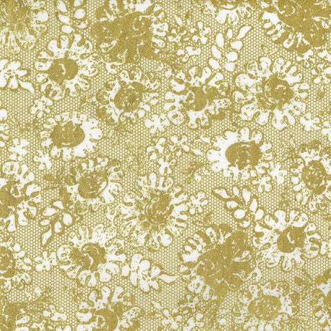 RJR Fabrics Metallic Shiny Objects 3482 1 Gold Floral Lace Luster