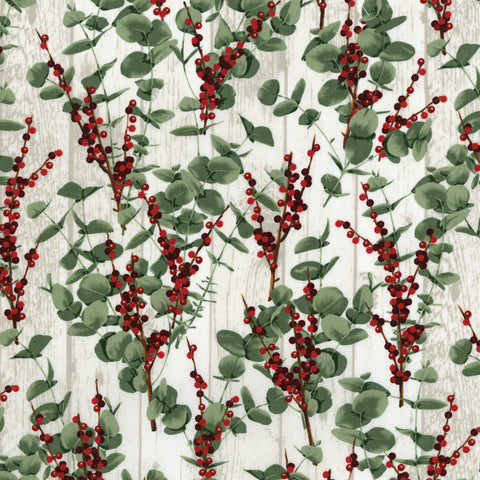 RJR Fabrics Let It Sparkle Metallic 3488 1 Eucalyptus & Winter Berries On White Wash Woodgrain By The Yard