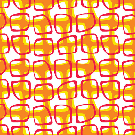 Contempo Abstract Garden 3500 38 Trellis Orange By The Yard