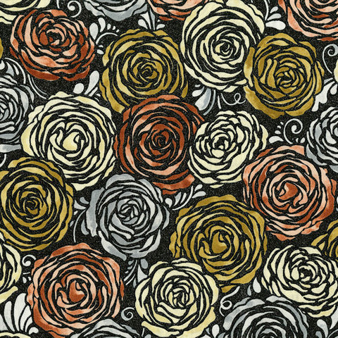 RJR Fabrics Metallic Shiny Objects 3513 1 Rose Gold Roses on Black