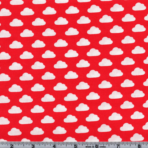 Windham Fabrics Toy Tales 35255 1 White Clouds on Red By The Yard