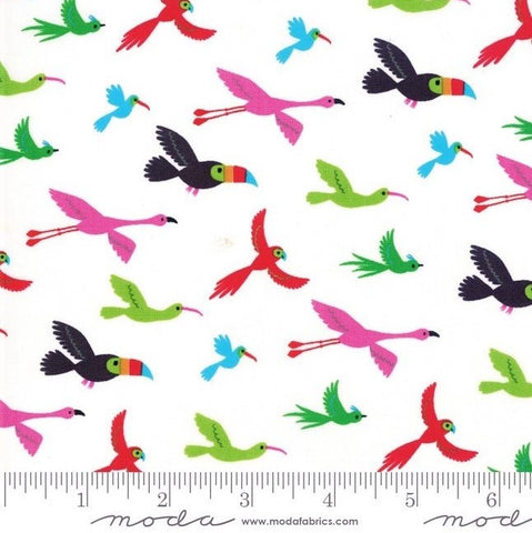 Moda Bicycle Bunch 35333 11 Coconut Flying Tropical Birds By The Yard