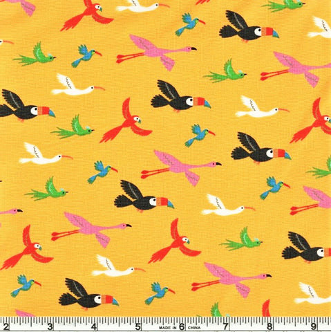 Moda Bicycle Bunch 35333 13 Banana Flying Tropical Birds By The Yard