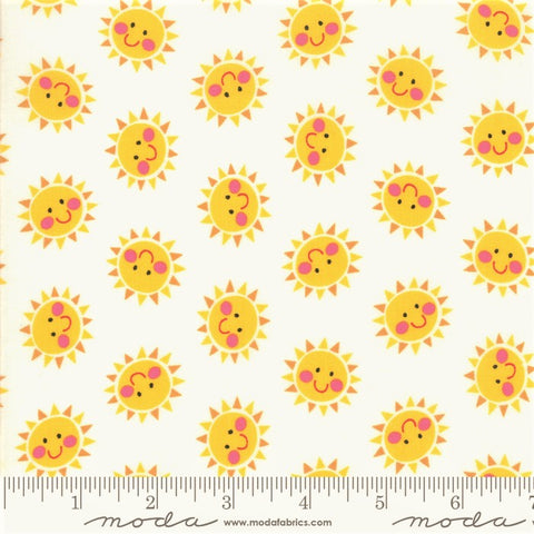 Moda Bicycle Bunch 35334 11 Coconut Smiley Suns By The Yard
