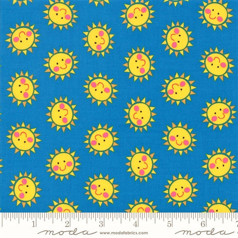 Moda Bicycle Bunch 35334 16 Blue Raspberry Smiley Suns By The Yard