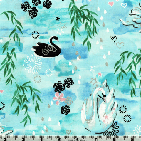 RJR Metallic Enchanted Lake 3601 1 Aqua Waltz In The Willows By The Yard