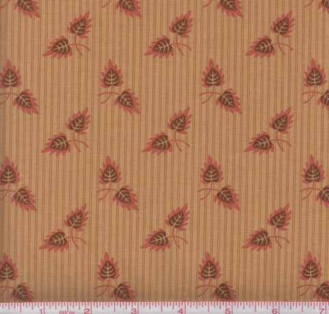 Moda Gratitude 38001 13 Leaves on Vintage Tan Striped Background by the yard