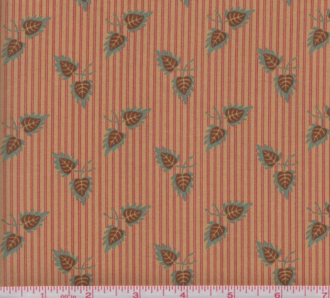 Moda Gratitude 38001 23 Leaves on Red Striped Background by the yard