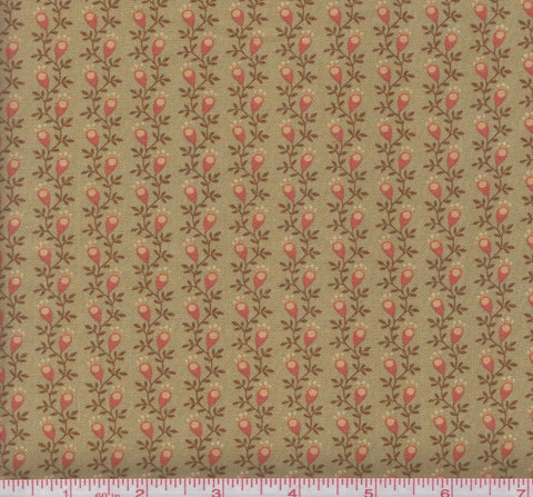 Moda Gratitude 38006 25 Orange Leaves and Pods on Vintage Moss Green by the yard