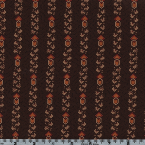 Moda Timeless 38027 14 Brown Flowers And Shapes By The Yard