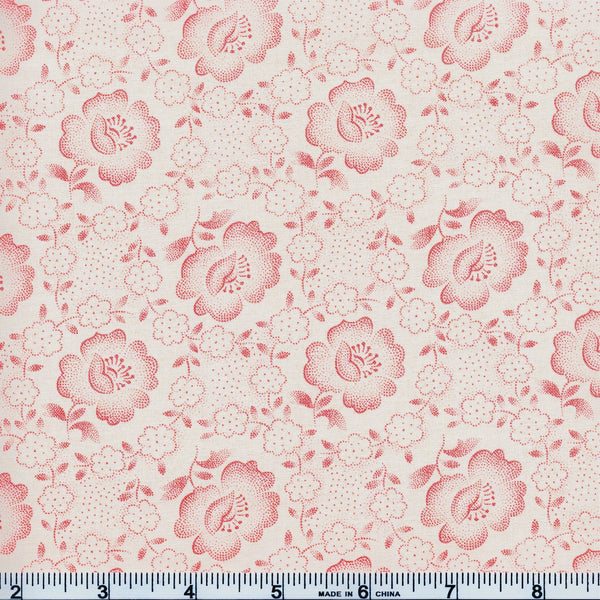 Moda Jo's Shirtings 38040 23 Rose/Parchment Floral Glory By The Yard