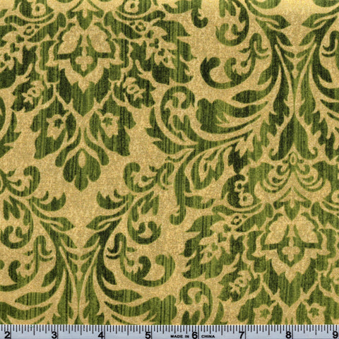 Windham Fabrics Holiday Elegance Metallic 38930M 2 Elegance In Evergreen & Gold By The Yard