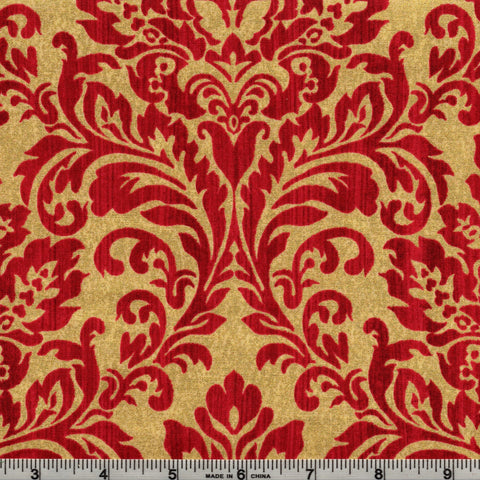 Windham Fabrics Holiday Elegance Metallic 38930M 3 Elegance In Red & Gold By The Yard