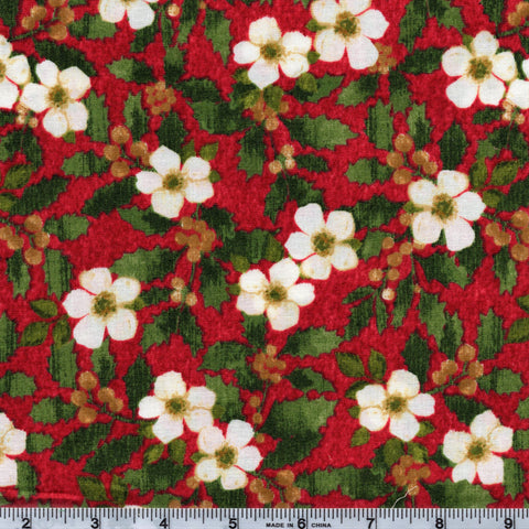 Windham Fabrics Holiday Elegance 38932 3 Christmas Flowers By The Yard