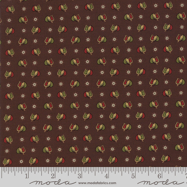Moda Glad Tidings 38098 16 Dark Brown Two Leaves A Star By The Yard