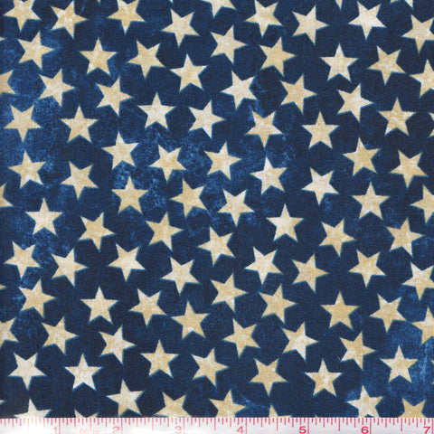 Northcott Stars & Stripes 39101 49 Navy Tan Stars by the yard
