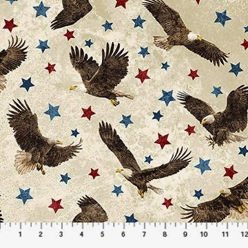 Northcott Stars & Stripes 39436 30 Beige Eagles Among the Stars By The Yard