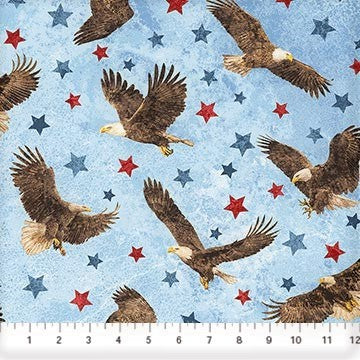 Northcott Stars & Stripes 39436 42 Blue Eagles Among the Stars By The Yard