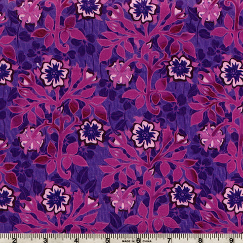 In The Beginning Fabrics Pastiche 3JYG 5 Purple Asian Floral Clusters By The Yard