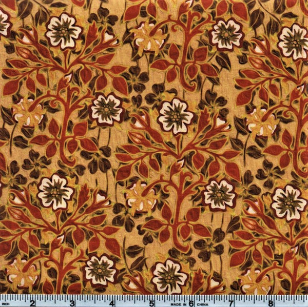 In The Beginning Fabrics Pastiche 3JYG 2 Yellow Floral & Leaves By The Yard