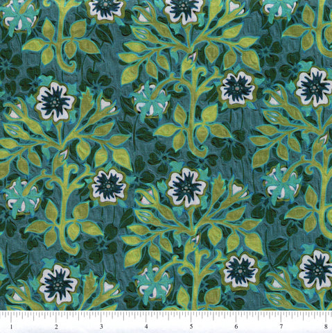 In The Beginning Fabrics Pastiche 3JYG 3 Floral & Leaves On Teal By The Yard