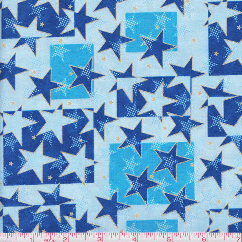 Hoffman Celebrate Metallic 4006 B Stars and Squares on Blue by the yard