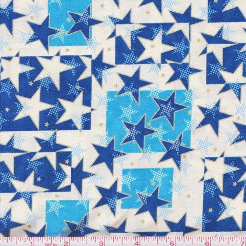 Hoffman Celebrate Metallic 4006 C Stars and Squares on Cream by the yard