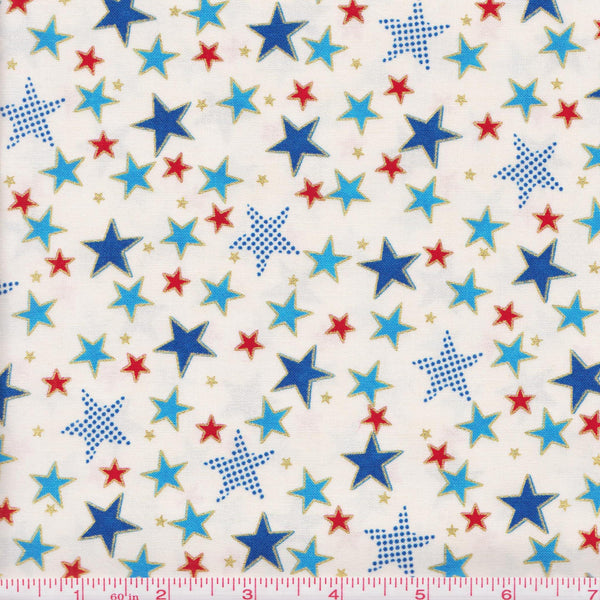 Hoffman Celebrate Metallic 4007 C Red Blue Stars on Cream by the yard
