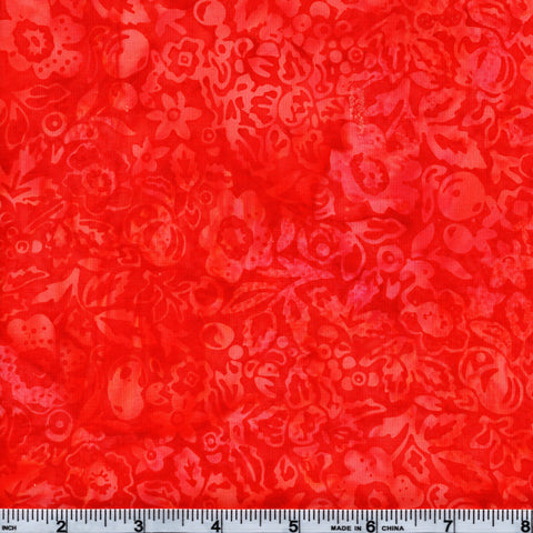 Hoffman Bali Batik ORG 4071 Tangelo Floral & Leaves By The Yard