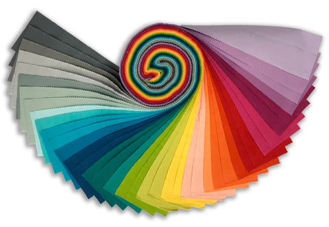 Kaufman Kona Cotton Pre-Cuts 40 Piece Roll Up 340 40 - Elizabeth Hartman - Over The Rainbow