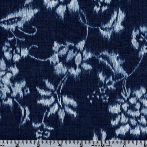 Hoffman Fabrics Natsu 4330 19 White Faded Floral On Navy By The Yard