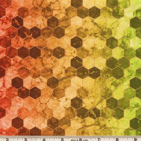 Hoffman Digital Print Backsplash 4762 181 Rainbow Ombre Hexagon Tile By The Yard