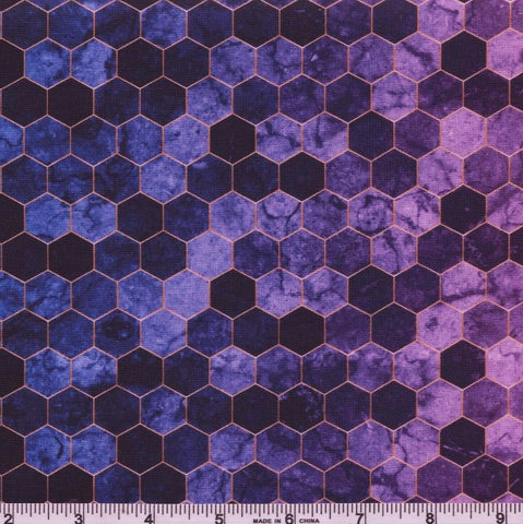 Hoffman Digital Print Backsplash 4762 46 Plum Ombre Hexagon Tile By The Yard