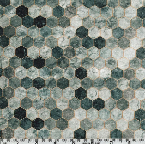 Hoffman Digital Print Backsplash 4762 76 Pewter Ombre Hexagon Tile By The Yard