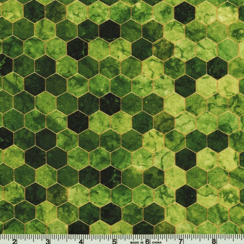 Hoffman Digital Print Backsplash 4762 8 Green Ombre Hexagon Tile By The Yard