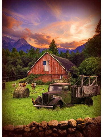 "Hoffman Digital Print Sun Up To Sundown 4777 112 Barn At Dawn 31"" Panel By the Panel (not by the yard)"