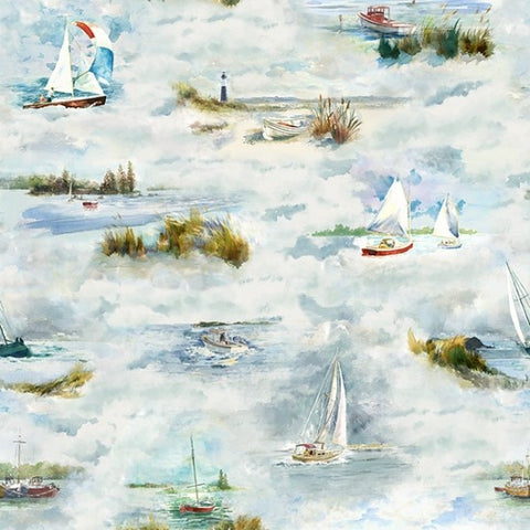 Hoffman Digital Print Shoreline Stories 4799 207 Sea Breeze Boating By The Yard