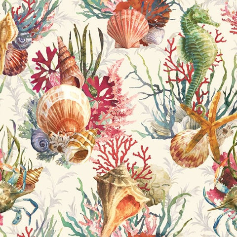 Hoffman Digital Print Shoreline Stories 4801 290 Seahorse & Shells By The Yard