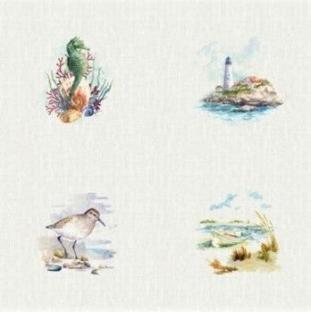 "Hoffman Digital Print Shoreline Stories 4803 20 Natural Picture 66 1/4"" PANEL By The PANEL (Not By The Yard)"