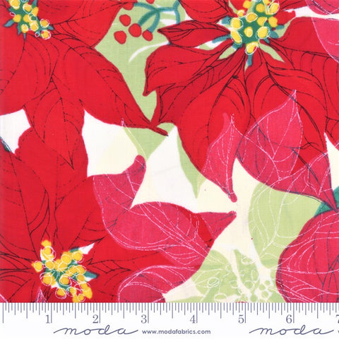 Moda Splendid 48650 11 Christmas Poinsettias On Cream By The Yard