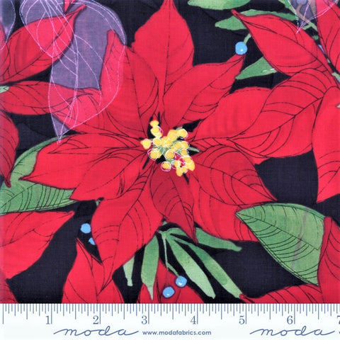 Moda Splendid 48650 18 Christmas Poinsettias On Charcoal By The Yard